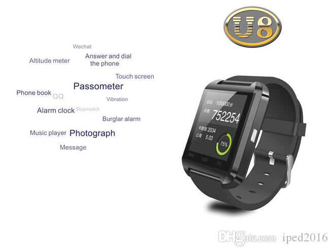 Bluetooth Smartwatch U8 2016 Free U Watch Smart Watch Wrist Watches for iPhone 4/4S/5/5S Samsung S4/S5/Note 2/Note 3 HTC Android Phone
