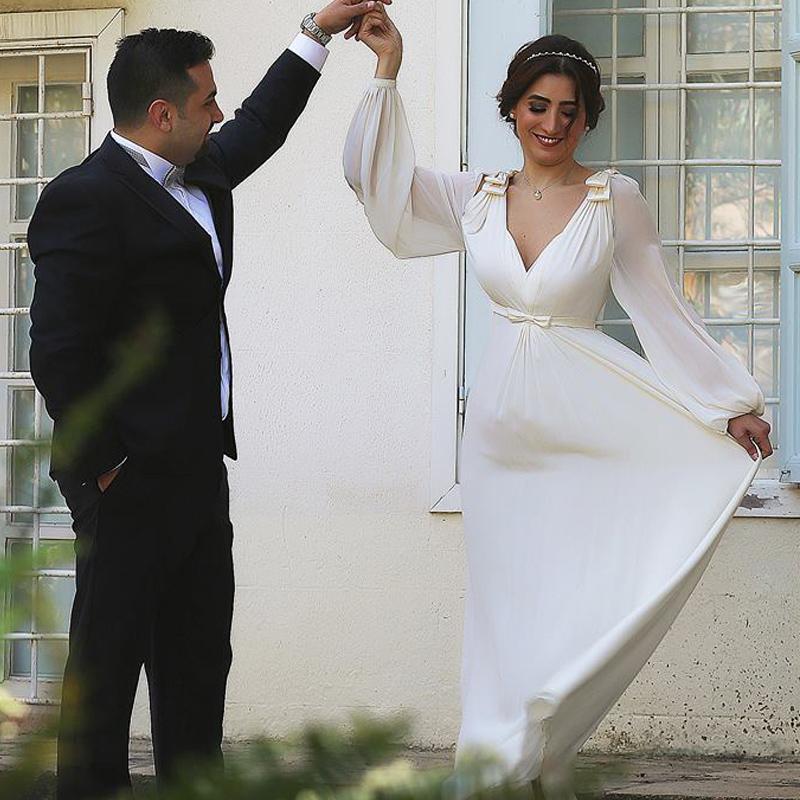 아랍어 두바이 댄스 파티 드레스 이슬람교 정장 착용 쉬폰 롱 파티 드레스 딥 브이 - 넥 보우 샷시 긴 소매 시인은 Draped