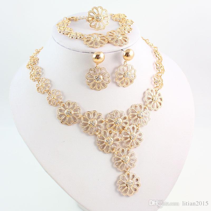 Мода Женщин Позолоченные Африканский Шарик Ювелирные Наборы Кристалл Цветок Форма Ожерелье Браслет Серьги Кольцо Набор