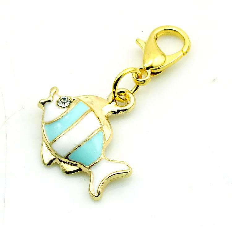 Brand New Fashion Floating Charms Alloy Lobster Clasp Rhinestone Fish Charms DIY Accessories Jewelry