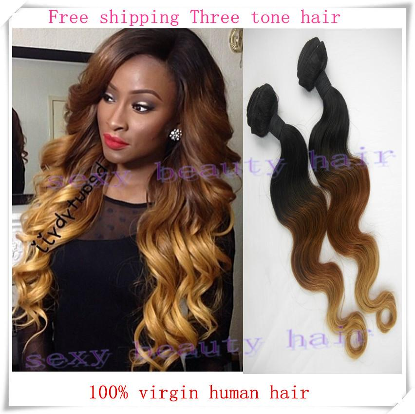 Peruvian ombre hair extensions body wave three tone color 1b 30 peruvian ombre hair extensions body wave three tone color 1b 30 27 honey blonde virgin human hair weave weft 3pcs lot free shipping by dhl pmusecretfo Gallery