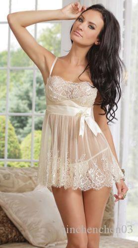 Mulheres Noite Exotic Vestido branco do laço da flor Lingeries curtas Babydoll sono camiseta