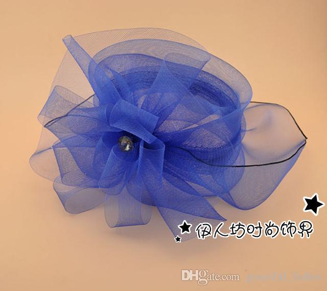 Britânico Retro Flor Nupcial Chapéus De Cristal Jóias Exagero Ocasião Chapéus cocar Acessórios Para o Cabelo Multi Cores Chapéus De Casamento Por Atacado
