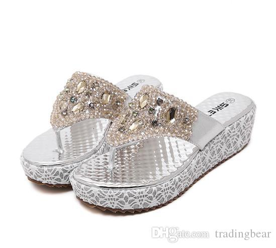 2016 Silver Gold Platform Low Heel Rhinestone Sandals Flip Flops for Women Beaded Shoes Size 35 To 40