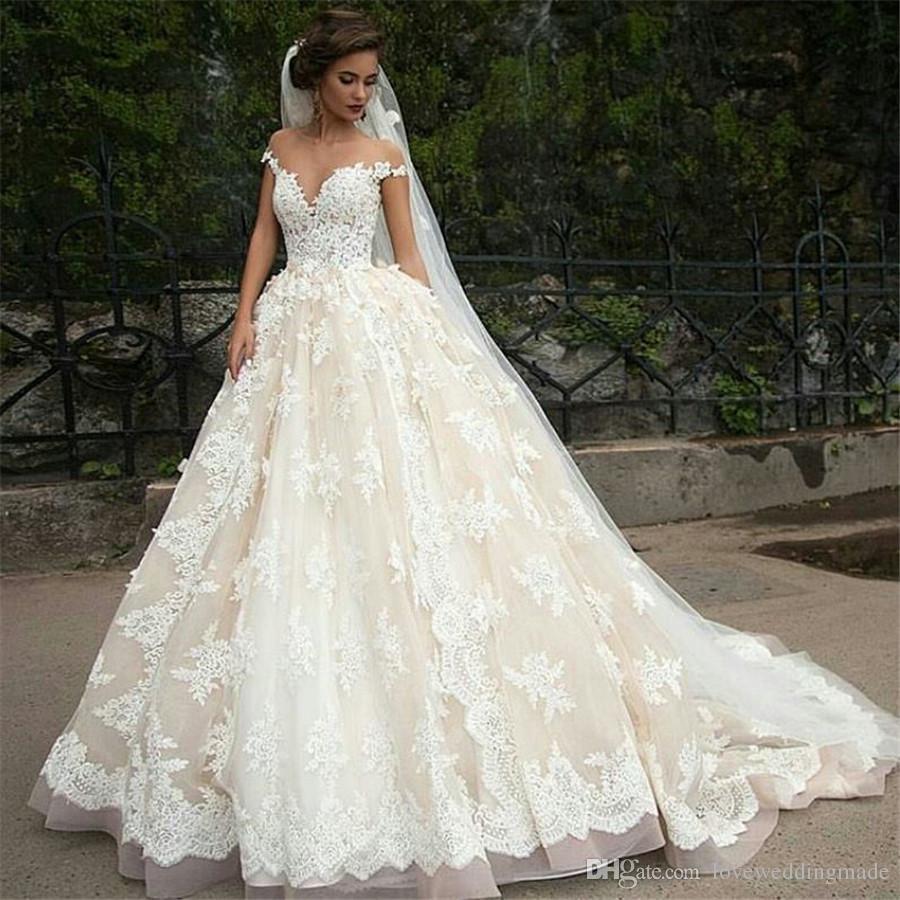 Großhandel 17 Libanon Champagne Ballkleid Brautkleider Sheer Jewel  Ausschnitt Kurzarm Schulterfrei Arabischen / Türkei Brautkleid Nach Maß Von
