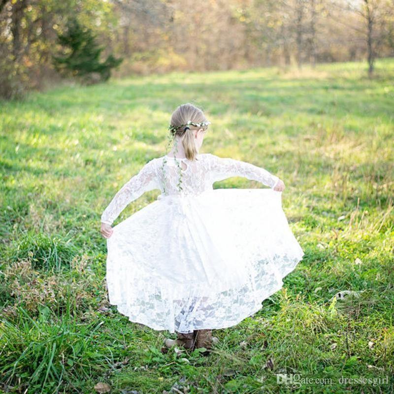 Ziemlich langen Ärmeln voller Spitze Blumenmädchenkleider bodenlangen eine Linie Kinder Festzug Kleid Erstkommunion Kleider nach Maß billig