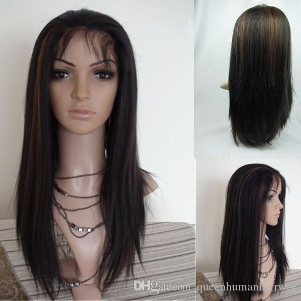 Lace Front wigs for black women 1B/30# Highlights Full Lace Wigs Indian Human Remy Hair Light Yaki