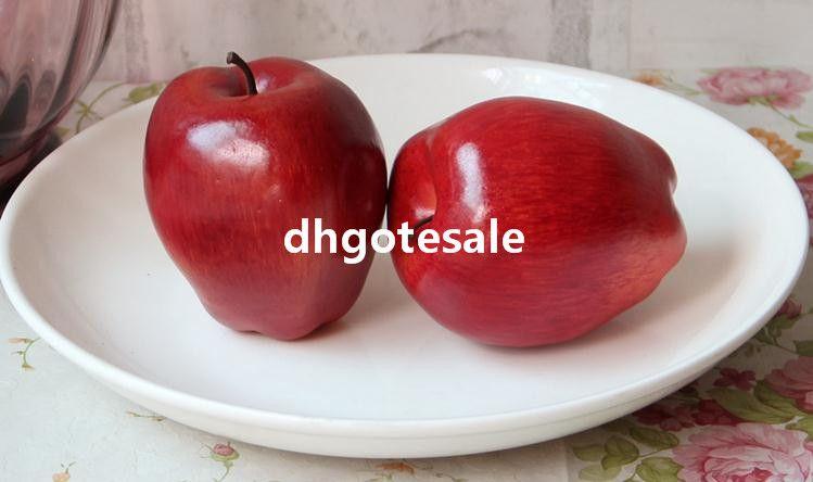 Kırmızı Renk Sahte Elma 8 cm * 9 cm 10 Adet / grup Yapay Kırmızı Lezzetli Elma El Yapımı Meyve Ev Dekorasyon Düğün Fotoğraf Sahne için