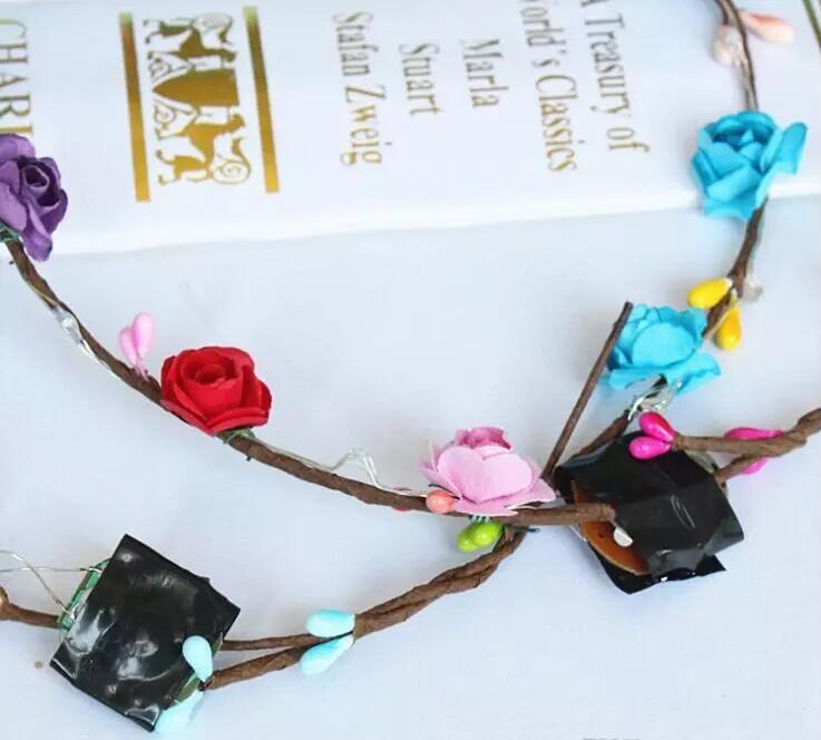 Lampeggiante LED Glow Flower Crown Fandbands Light Party Rave Floral Hair Capelli Ghirlanda Ghirlanda Wedding Flower Girl Girl Headpiece Decor