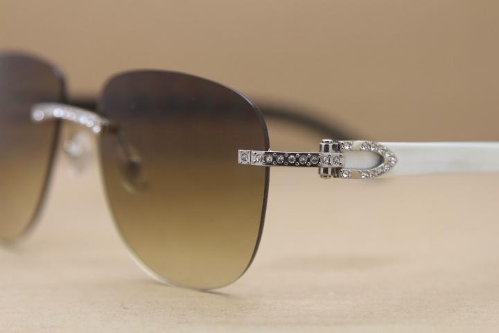 Hot T8300680 Randlos Samll Diamant-Glas-Frauen Art-Schwarz-Weiß Buffalo Horn Sonnenbrille fahren Brille Rahmengröße: 53-18-140mm