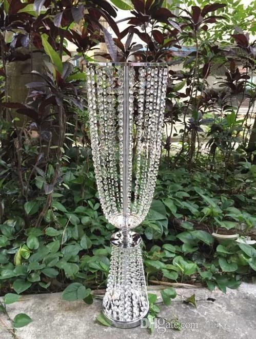 claro grande vaso de flor de cristal mental com acrílico cristal para decoração de casamento