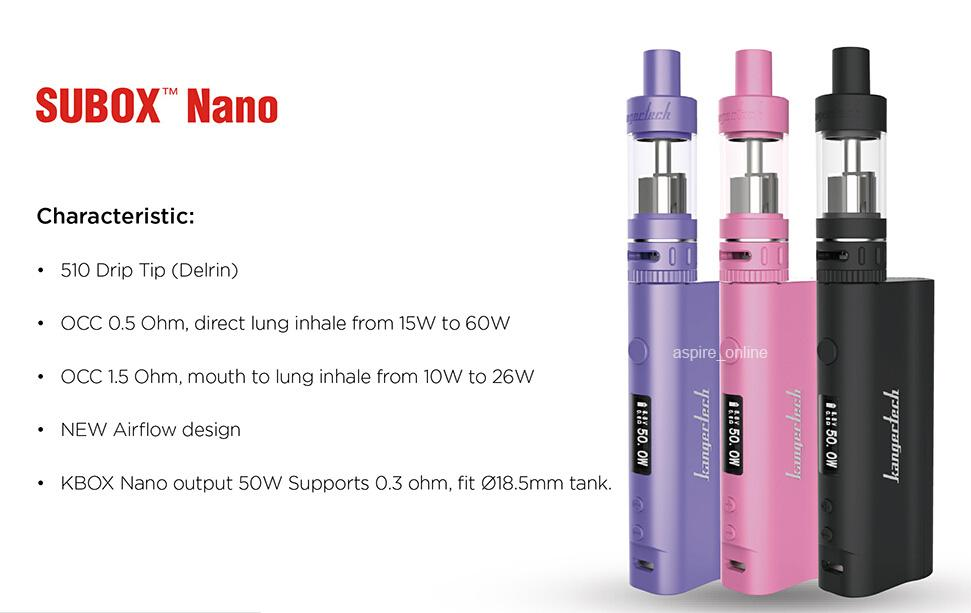 Promotions 100% Original Kanger Subox Nano Starter Kit With 3ML Subtank Nano Clearomizer 50W Kbox Mini Vapor Kit for Electronic Cigarettes