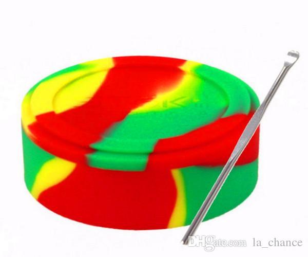 도매 왁스 오일 컨테이너 왁 스 패스 FDA LFGB 테스트에 대 한 실리콘 항아리 Dab 왁 스 컨테이너 5mL 32 * 18mm 주석 Dab 플라스틱 실리콘 컨테이너