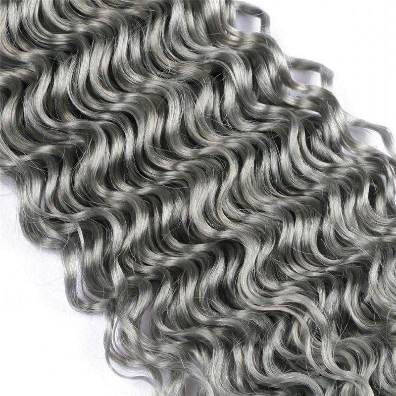 Silver Grey Extensiones de cabello humano rizado profundo / Pure Color Grey brasileño 9A Virgen cabello humano teje extensión de rizo de onda profunda