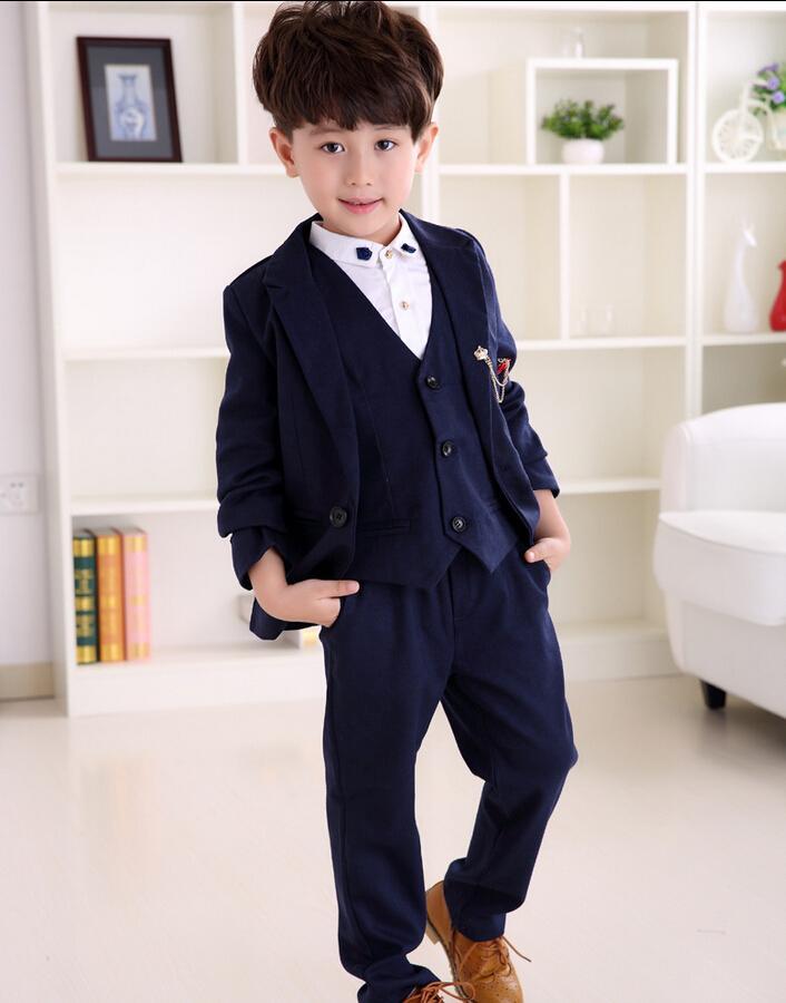 New Autumn Child Boy Formal Suits Dark Grey Kids Suit Three Piece ...