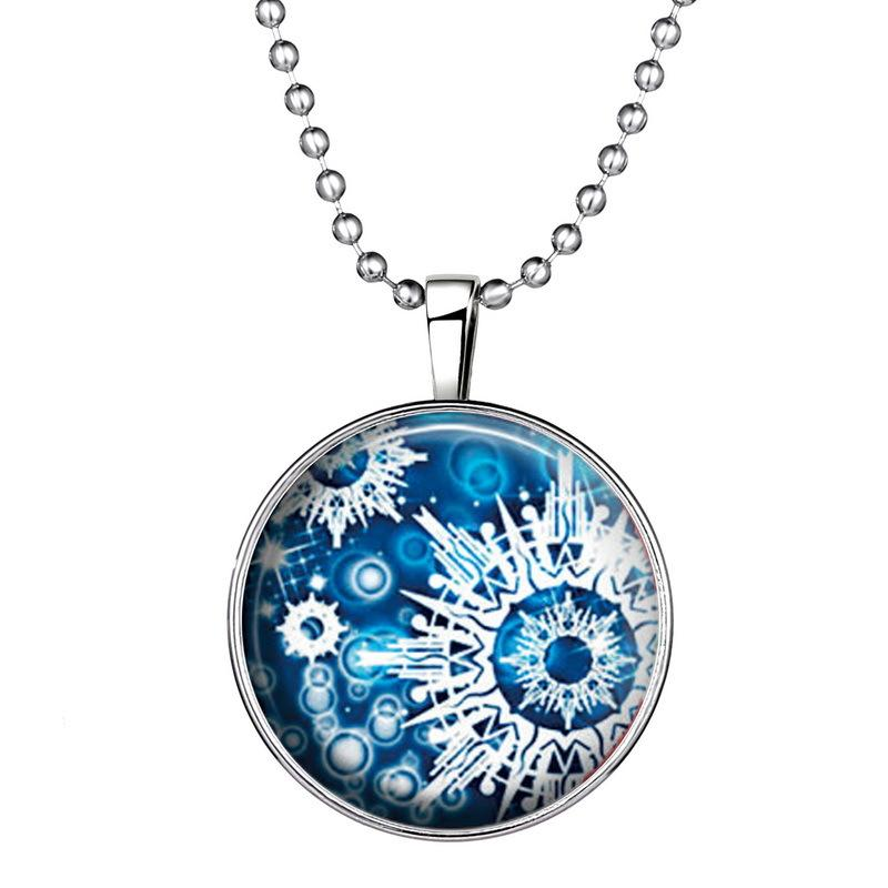 Хэллоуин стиль Королева ведьм Снежинка Рождество ветряная мельница шаблон светящиеся стекла кулон ожерелье световой драгоценный камень подвески женщины ювелирные изделия