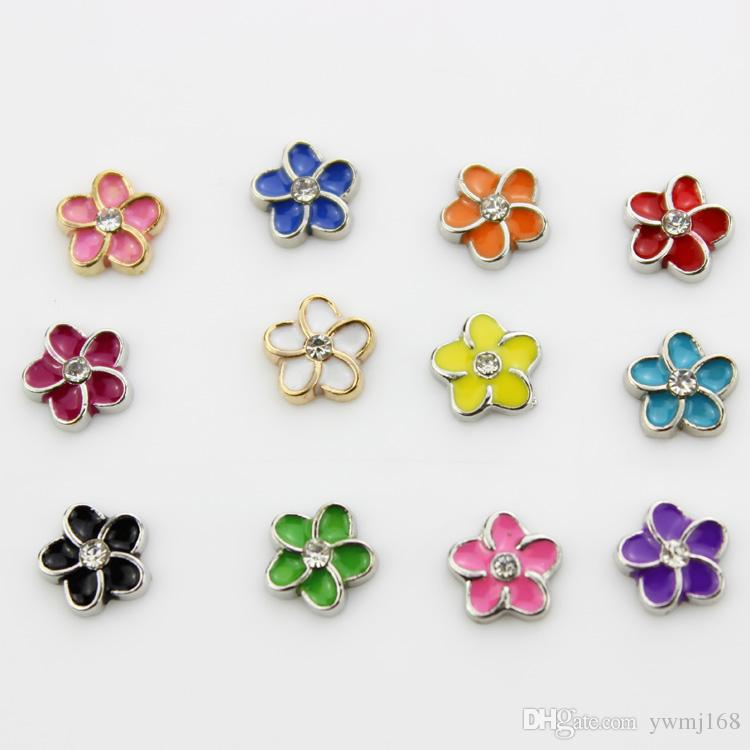 Mix 12 color 120pcs/lot rhinestone flower floating charms enamel charms for living memory lockets wholesale free shopping