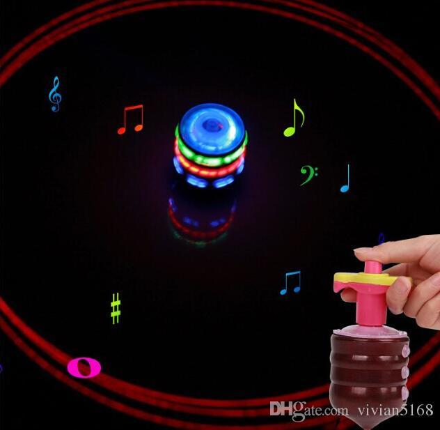 ماجيك الموسيقى الجيروسكوب لعبة الدوران سبينر الغزل الصمام الدوران الاطفال ufo واحد ليزر ملون led الوتد الأعلى لعبة هدايا عيد شحن dhl