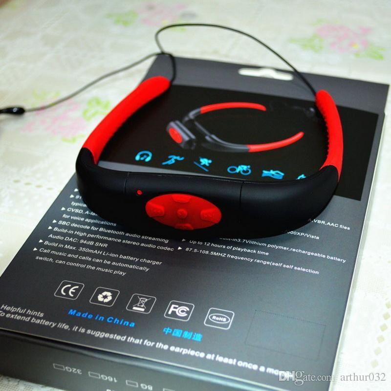 IPX8 Водонепроницаемый Спорт MP3-плеер Встроенный 4 ГБ Подводный шейный бассейн Плавание Дайвинг SPA с FM-радио Наушники Стерео Аудио Наушники