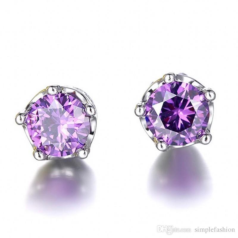 Vecalon Büro Dame Crown Schmuck Ohrringe Kristall 2ct 5A Cz 925 Sterling Silber Party Hochzeit Ohrstecker für Frauen
