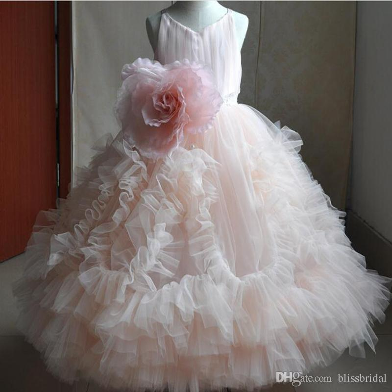 2017 Blush Pink girls Pageant Dresses Pick-ups Hand Made Flower Ball Gowns Girls Christmas Party Dresses Flower Girls' Dresses