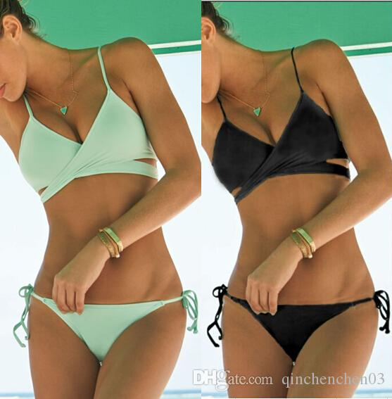 Black wrap bikini top Criss Cross bandage swimwear hot sell bathing suits European style sexy push up bikini vintage monokini