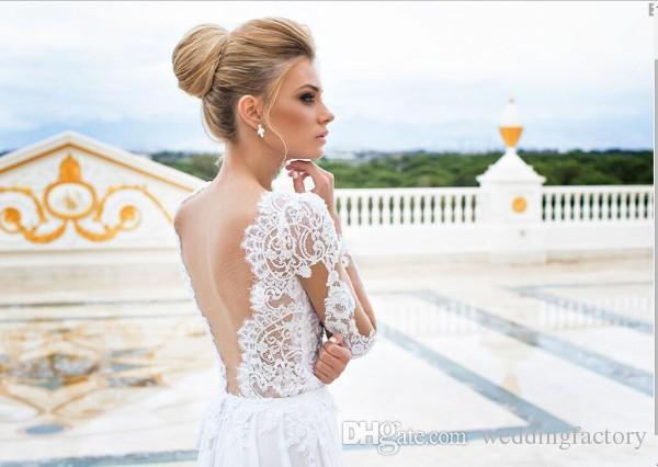 2019 Sexy Beach Wedding Dresses Sheer Lace Appliqued Long Sleeves Sheath V Neck Backless Split Chiffon Bridal Gowns White Dress