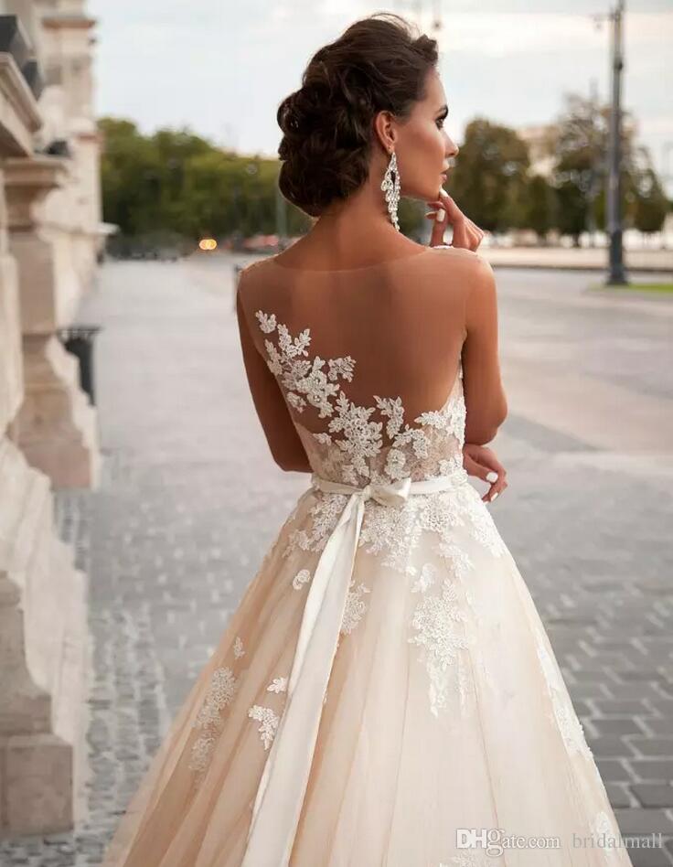Land västra 2019 vintage en linje bröllopsklänningar spets appliqued bröllop brud klänningar plus storlek pärlor sash strand land brudklänningar