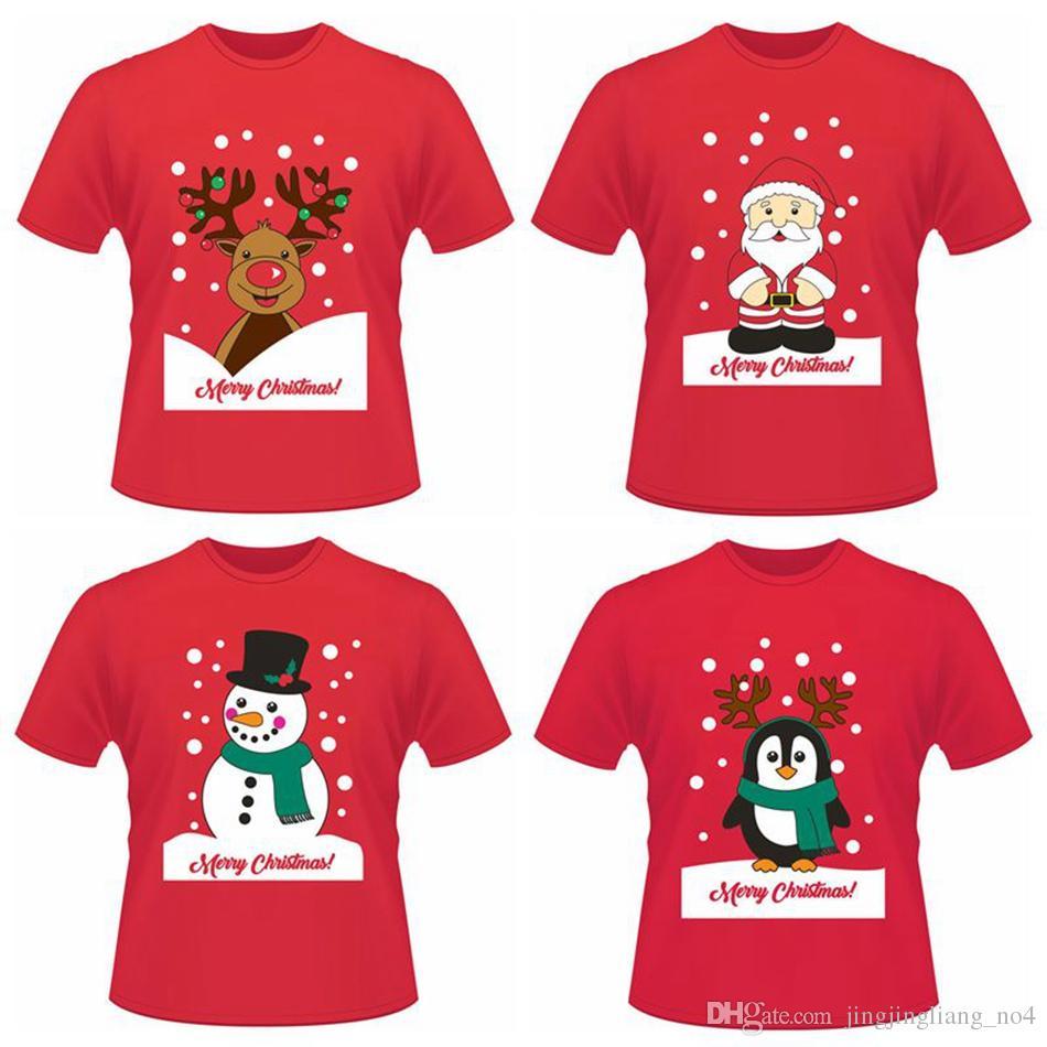 Christmas Funny Short T-shirts Santa Claus Elk Penguin Summer Short Sleeve  Printed Tops Tee Shirts LJJO3637 Christmas T-shirts Santa T-shirts  Christmas ... 32fad6191c86