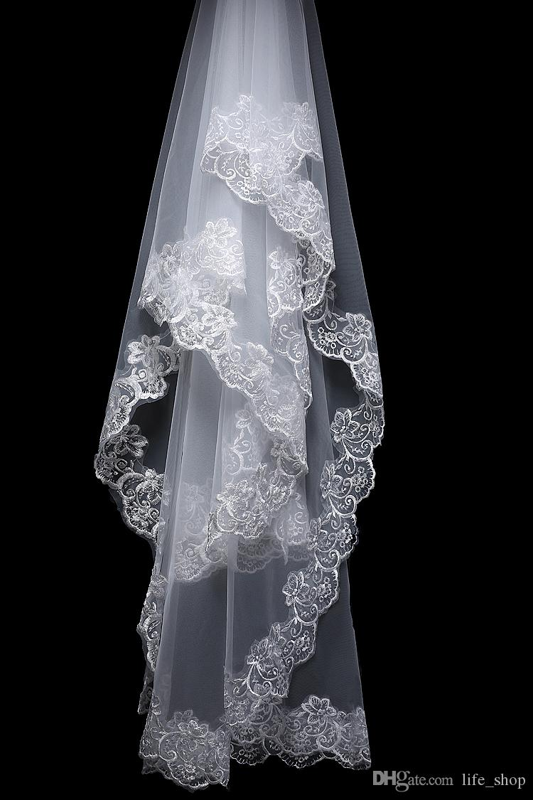 La migliore vendita 2014 3 pezzi del merletto di Appliqued dei velare di cerimonia nuziale pettina con i guanti mezzi della parte superiore Trasporto libero