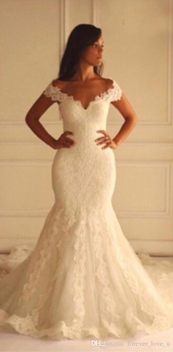 Gorąca sprzedaż Syrenki Suknie Ślubne Vintage Koronkowe Aplikacje Suknie Ślubne V Neck Off The Ramię Hollow Back Custom Made Brides Wear