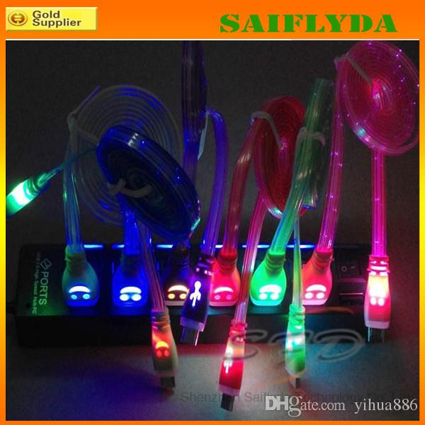 LED Visible se ilumina Cable de cargador micro USB Data Sync Cable de carga 1M 3FT para Samsung Galaxy S5 S4 S3 S2 Nota 2 HTC Sony LG Nokia Phone