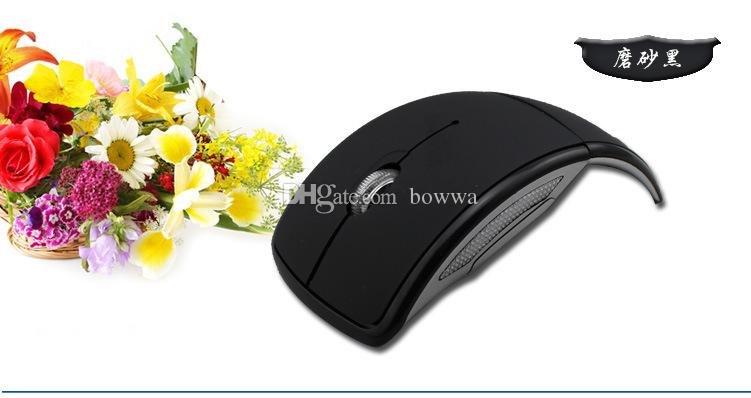 DHL 100 unids USB Inalámbrico 2.4 GHz Inalámbrico Arco Plegable Plegable de Ratón Para Laptop Tablet PC de escritorio
