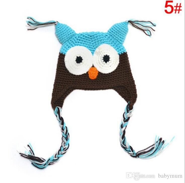 Warm Toddler Owl Ear Flap Crochet Hat infant Handmade Crochet OWL Beanie Hat cute baby OWL Beanie Kids Hand Knitted Hats