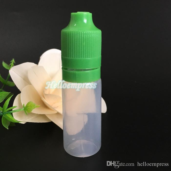 15000 adet e sıvı şişe 10 ml PE boş şişe çocuk geçirmez sabotaj belirgin kapak ve eliquid ejuice plastik şişeler için uzun ince ucu