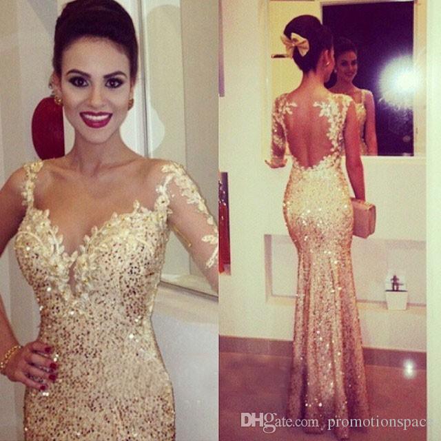 2015 guld prom klänningar med långa ärmar älskling bodycon cocktail klänningar trumpet stil formella klänningar kvällsklänningar med applikationer
