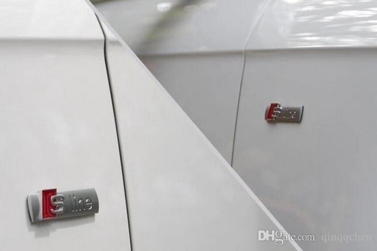 3D Metal Car S line cubierta de la etiqueta engomada para Audi Sline Logo A3 A4 A5 A6 Q3 Q7 Q7 B7 B8 C5 S6 Auto Auto calcomanía accesorios buena calidad