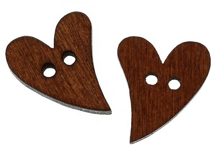 Lovely Brown Wood Wooden Sewing Heart Shape Craft Button Scrapbooking DIY