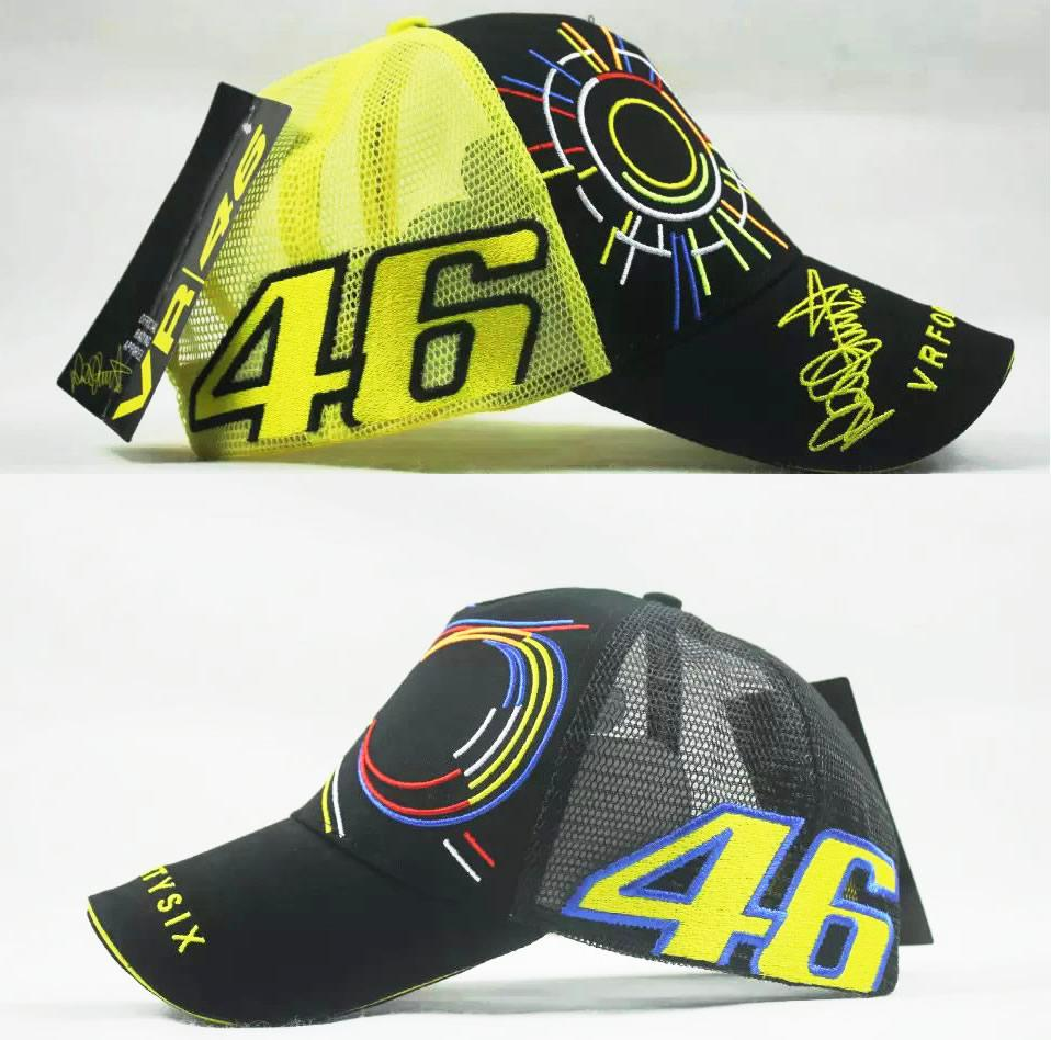 Summer Yellow Mesh VR 46 Rossi Cap Hat Moto Gp Motorcycle F1 ... 72fdd8f8494