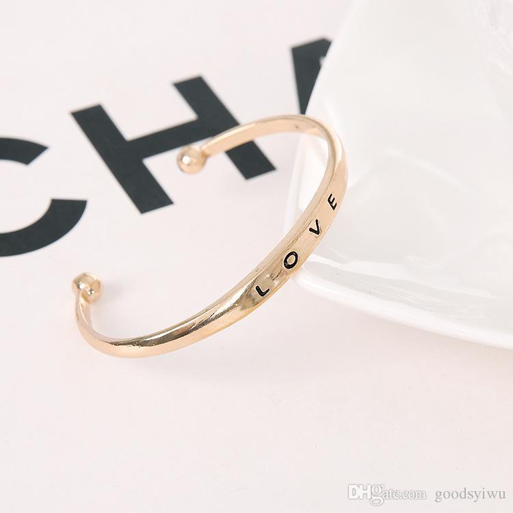 Heiße Silber Vergoldete Armbänder Für Frauen LIEBE Armreifen Femme Charme Vintage Open Sommer Stil Schmuck