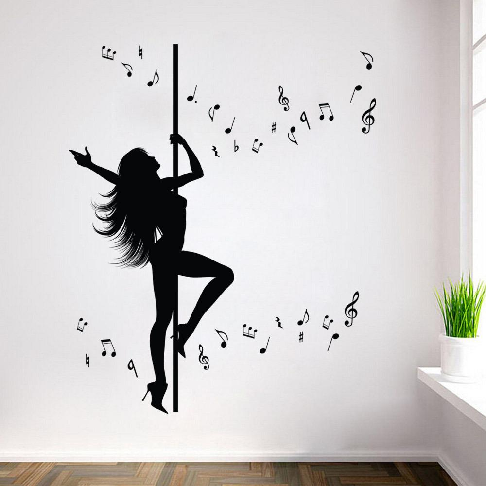 Creative Dance Girl Music Wall Sticker Removable Waterproof Stickers For  Bedroom Living Room Background Home Decor Wallpaper Wall Decal Murals Wall  Decal ...