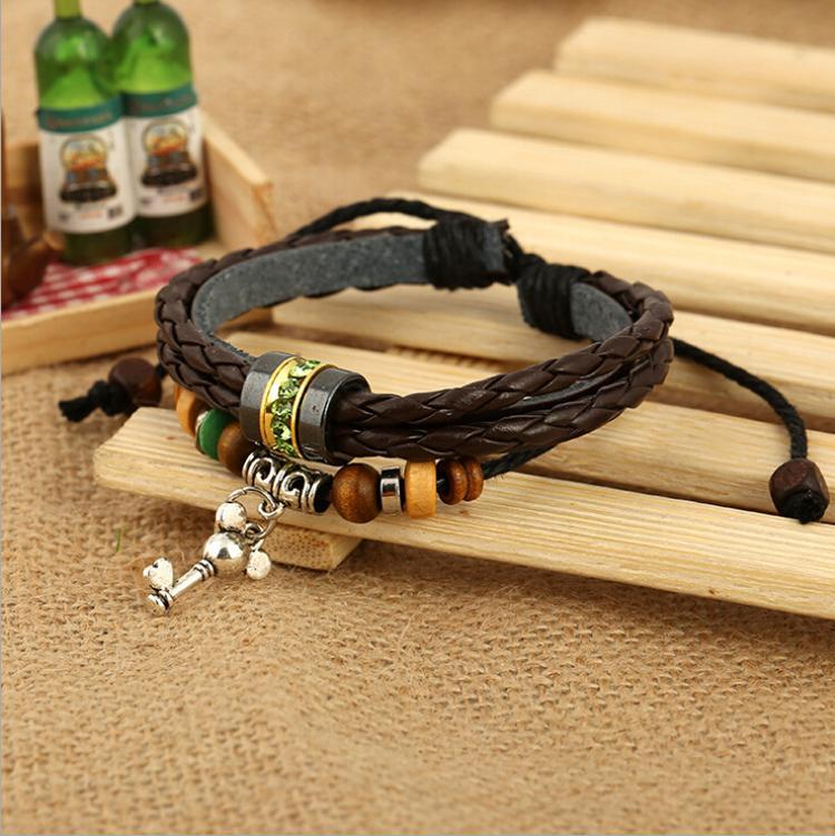 Brand New Personality Key Charms Bracelets Fashion Infinity Green Rhinestone Beaded For Men Leather Bracelets Jewelry