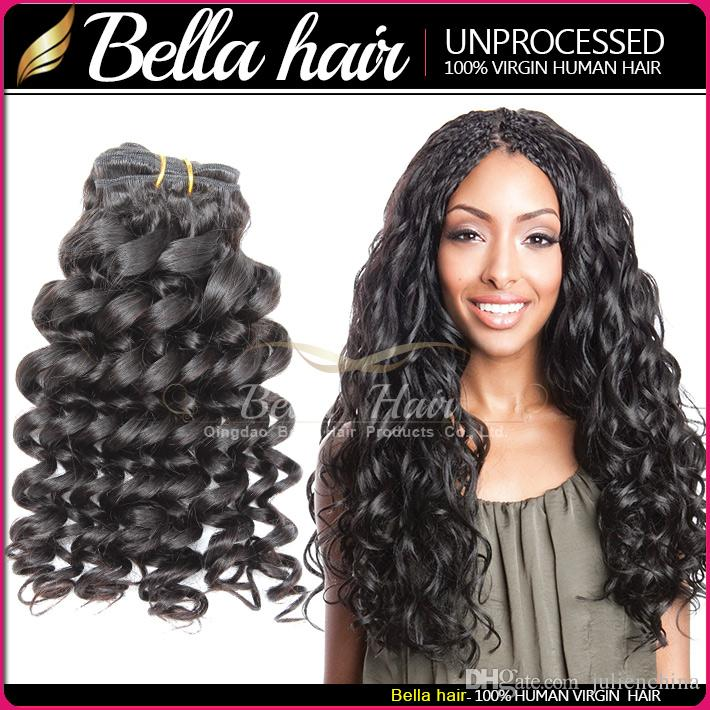 Bella Hair 8A Brazilian Hair Funmi Baby Curly Spring Curl Dyeable Black Color Human HairExtensions 3Bundles Hair Weave Weft