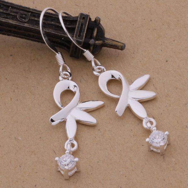 Mode fabricant de bijoux beaucoup Lotus avec diamant Boucles d'oreilles en argent sterling 925 usine de bijoux en argent Boucles d'oreilles Fashion Shine