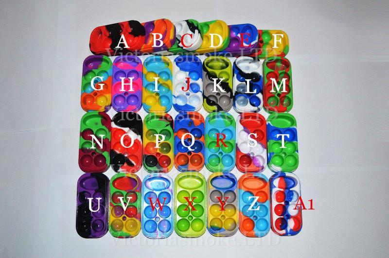 6 + 1 Recipiente de Silicone 6 + 1 Caixa de Recipiente de Cera de Silicone colorido grau alimentício reutilizável frasco de cera de silicone 13 cores diferentes Frete Grátis