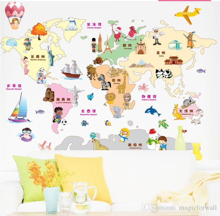 Cartoon World Map Wall Art Decor Kids Learning Living Room Decoration Wall Decal Sticker DIY Home Decal Decor