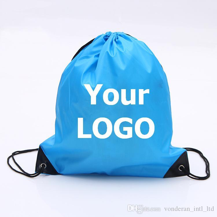 Customize Drawstring Polyester Tote Bags Logo Print Advertising Waterproof  Backpack Folding Bags Marketing Promotion Gift Shopping Bags Reusable Bags  ... 9190600352