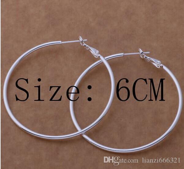 Yüksek kalite 925 ayar gümüş çember küpe büyük çaplı 5-8 CM moda parti takı pretty sevimli Noel hediyesi ücretsiz kargo 1343