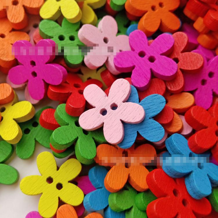 Multicolor 14x15mm 2 Holes Mixed Flower Wooden decorative Buttons Fit Sewing Scrapbooking Crafts TT77