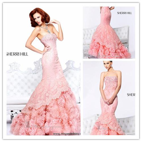 2014 Princess Unique Design Long Prom Dresses With Flower Sweetheart ...